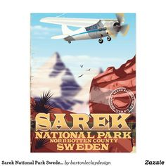 Sarek National Park Sweden vintage travel poster Postcard