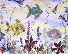 Watercolor art with Pressed Flowers of Fish  by mypetalpress, $6.00
