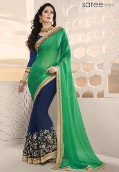 GREEN AND BLUE GEORGETTE SAREE WITH EMBROIDERY WORK