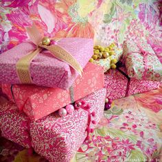 Liberty Fabric Gift Wrapped Christmas Presents