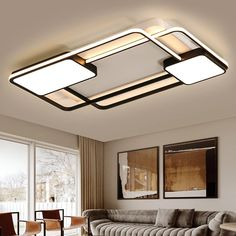 Modern LED Ceiling Light With Remote Control For Living Room Bedroom Surface Mounted Ceiling Lights White Black Body Color Dero Best False Ceiling Designs, Interior Ceiling Design, House Ceiling Design, Ceiling Design Living Room, Bedroom False Ceiling Design, Ceiling Light Design, Home Ceiling, Ceiling Lamp, False Ceiling For Hall