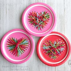 Heart Paper Plate Craft - a wonderful sewing craft for preschool and up. Love this Valentine Decoration for kids to make