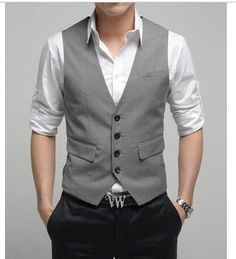 Like the vest with the rolled up shirtsleeves, no tie and minus belt buckle