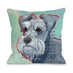 Schnauzer Pillow Aqua
