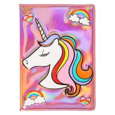 Holographic Unicorn Notebook   Stand out from the crowd with this Holographic Unicorn Notebook. Rainbows, hearts, and a glittering unicorn decorate the face of this enchanting notebook.