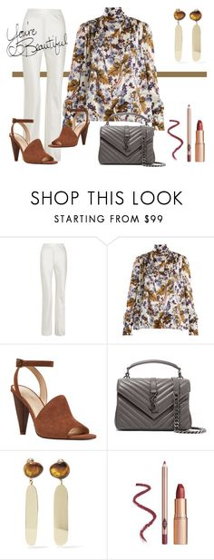 """""""Floral Silk Blouse"""" by effdee ❤ liked on Polyvore featuring Michael Lo Sordo, Erdem, Nine West, Yves Saint Laurent and Dinosaur Designs"""