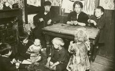 This photograph shows a family in their home in Bethnal Green, part of a series taken to expose the terrible living and working conditions of people in the East End, circa Picture: PLA Collection/Museum of London Victorian London, Vintage London, Old London, East London, London 1800, Victorian Era, London England, London History, British History