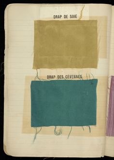 Lined notebook with red covers containing 284 textile samples with French titles pasted over many of them. One missing. via cooper-hewitt museum