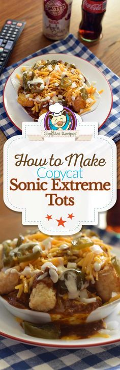 restaurant night Make your next game or movie night fun when you serve up a platter of Sonic Extreme Tots! Cheesy Recipes, Potato Recipes, Cat Recipes, Copykat Recipes, Homemade Chili, Restaurant Recipes, Sonic Restaurant, Game Day Food, Appetizer Recipes