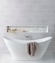 Shop for Marta Gris Ceramic Wall Tile - 8 x 24 in. at The Tile Shop. Bathroom Niche, Bathroom Trends, Bathroom Colors, Bathroom Sets, Modern Bathroom, Small Bathrooms, Bathroom Recessed Shelves, Bathroom Wall Tiles, Bathroom Island