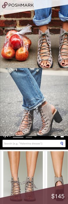 Jeffrey Campbell for Free People Minimal Lace up Distressed leather open-toe lace-up heel. Open at back of heel, too. Stacked heel. Rubber sole. For optimal comfort. Leather. New without box. No trades. Free People Shoes Heels