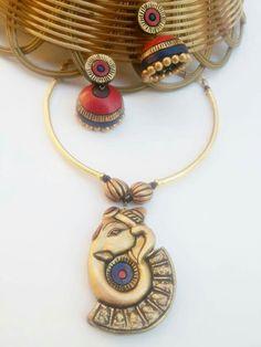 Exclusive ganesha  pendant Terracotta Jewellery Online, Terracotta Jewellery Designs, Funky Jewelry, Jewelry Model, Ceramic Jewelry, Polymer Clay Jewelry, Teracotta Jewellery, Terracotta Earrings, Biscuit