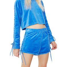 Blue Lace Up Velvet Shorts ($32) ❤ liked on Polyvore featuring shorts, lace up shorts, laced shorts, blue shorts, side tie shorts and velvet shorts