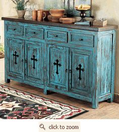 Absolutely loving this rustic buffet in turquoise! A great way to brighten up a space and bring something unique to the room.