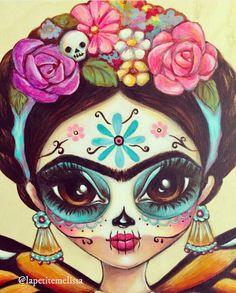 Mexican Skulls, Mexican Folk Art, Illustrations, Illustration Art, Catrina Tattoo, Cultures Du Monde, Hispanic Art, Arte Fashion, Sugar Skull Art