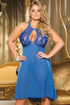 Full Figure Lace and Matte Chiffon Ballerina Gown Lingerie  1x 2x 3x