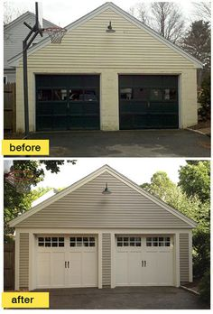 A Concord Carpenter Rob Robillard added much needed charm and character to this historic Boston-area garage with new Clopay Coachman Collection carriage house garage doors. www.clopaydoor.com