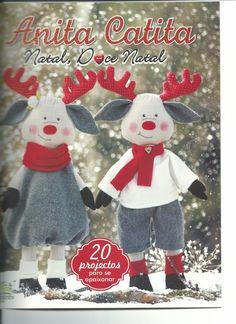 capa Fabric Animals, Felt Animals, Christmas Angels, Christmas Crafts, Christmas Ornaments, Felt Stocking, Christmas Sewing, Child Doll, Sewing Toys
