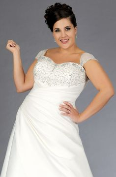 This plus size bridal dress has removable cap sleeves. You can make custom changes to this or any other plus size wedding dress on our site.