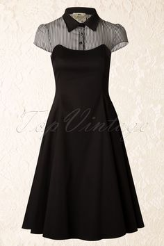 Collectif Clothing - 50s Jemima Striped Doll Swing Dress in Black