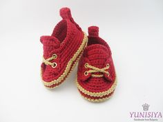 Crochet baby moccasins, Red Crochet Baby Booties, Crochet Baby Booties, Crochet Baby Shoes, sizes 0 - 6 months,baby boy loafers, baby shoes by Yunisiya on Etsy