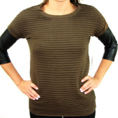 BB Dakota Sweater with Faux Leather sleeves