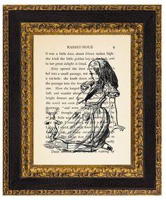 Alice in Wonderland print on Alice in Wonderland Vintage Book Page. Upcycled Book Print by mademetreacle