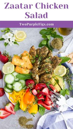 This Mediterranean Zaatar Chicken Salad with Fried Halloumi is a must try – bold in flavor with a bright and zesty touch, and ready in 30 minutes. Healthy Salad Recipes, Lunch Recipes, Gourmet Recipes, Beef Recipes, Real Food Recipes, Chicken Recipes, Yummy Food, Delicious Recipes, Easy Family Meals