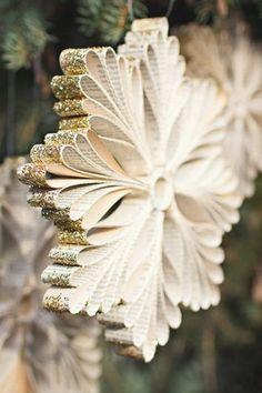 homemade christmas ornaments book snowflake christmas crafts DIY Christmas Ornaments Your Family Will Treasure for Years Easy To Make Christmas Ornaments, Diy Christmas Snowflakes, Snowflake Decorations, Christmas Ornaments To Make, Noel Christmas, Xmas Crafts, Homemade Ornaments, Snowflake Craft, Christmas Book Art