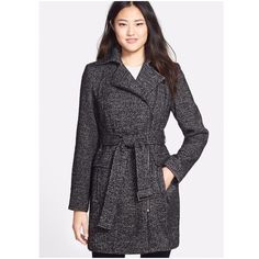 "Calvin Klein Black & White Tweed Coat 🎉{HP}🎉NWT Calvin Klein black-and-white tweed brings dapper menswear appeal to this asymmetrical coat designed with on-trend moto styling! FEATURES; Front off-center zip closure, Front zip pockets w/flap details. Removable belt, nickel tone hardware, Back vent, Lined. Dry clean.   *53% wool/34% polyester/13% acrylic *Length 35"" *Bundle Discounts, Smoke-Free, No Trades Calvin Klein Jackets & Coats"