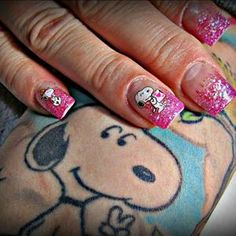 Snoopy Obsessed nails