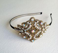 1920s Flapper Bridal Headband Iridescent -  Gold Black bridal headband, gold prom rhinestone, bridal head piece, headpiece GOLD IRID