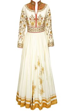 Cream heavily embroidered anarkali with churidaar and cream dupatta available only at Pernia's Pop-Up Shop.