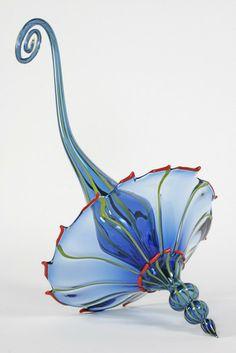 Keith Walker, Middle Blue Skillsaw Umbrella! 2008, blown glass assembled, 15 d x 32