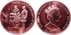 40TH ANNIVERSARY-REIGN OF QUEEN ELIZABETH FALKLAND ISLANDS 50 PENCE- 1992     Features of coin  Country- Falkland Islands  Face value- 0....