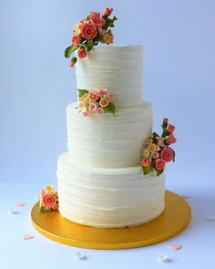 3 Tier Buttercreamed Wedding Cake with sugar rose and pretty blossoms  by Karen's Cakes