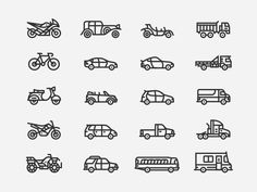 Vehicle Icons by Daniel Haire http://iconutopia.com/best-icons-of-the-week-week-13/