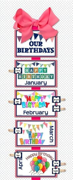 Birthday clip chart from CLASSROOM SIGNS: Coral & Navy Edition. Love those mini-clothespins from the craft store! $