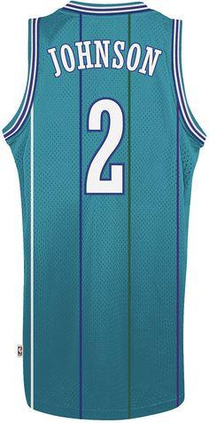 cdc84a4d6da ... adidas Mens Larry Johnson Charlotte Hornets Retired Player Swingman  Jersey Big tall large ...
