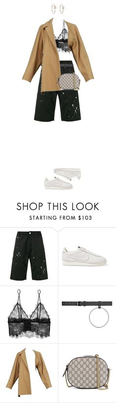 """""""Untitled #310"""" by c-rystaaal ❤ liked on Polyvore featuring Uniform Experiment, NIKE, Anine Bing, Vetements, Maison Margiela and Gucci"""