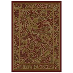 allen + roth Paisley Park Rectangular Red Floral Woven Area Rug (Common: 8-ft x 11-ft; Actual: 7.83-ft x 10.83-ft)