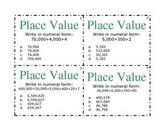 Maths: Place Value Task Cards.
