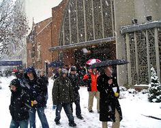 Worshippers leave a church service in the snow (ST. Stephen Martyr Catholic Church in Washington, D.C.)