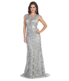 Silver Belted Lace Floor Length Dress