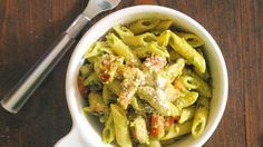 Make traditional pesto creamy with the addition of an avocado to the sauce. It makes for a delicious pasta dinner!