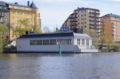 Floating pool house (Stockholm)