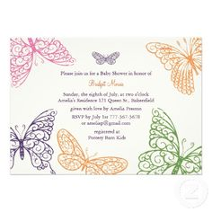 Tummy Flutters #Baby #Shower #Invites ivory paper stock #butterfly #butterflies #babyshower