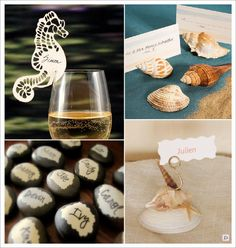 decoration mariage mer marque place galet coquillage hippocampe
