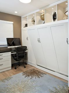 Side Tilt Wall Bed & Custom Cabinetry in Home Office - Traditional - Home Office - San Francisco - Valet Custom Cabinets & Closets this is a room House Design, Bed Design, Small Spaces, Home, Maximize Small Space, Bed Wall, Custom Wall Beds, Murphy Bed Office, Traditional Home Office