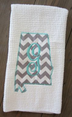 State Shape Kitchen Towel  Alabama w/ by ChicADeeEmbroidery, $12.00 @Magan Gramling. This would be so cute with Tennessee ;)
